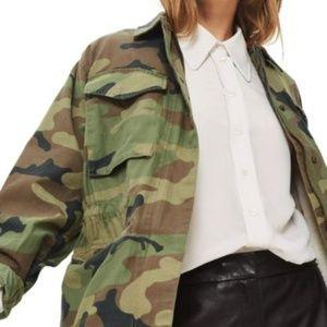 NEW TOPSHOP Women's Sandy Camo Print Shirt Jacket